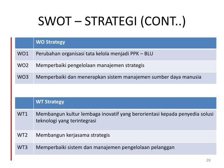 SWOT – STRATEGI (CONT..)