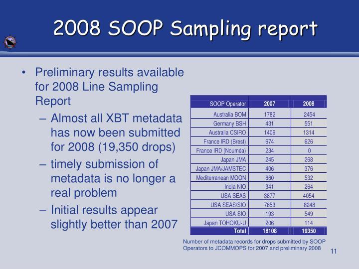2008 SOOP Sampling report