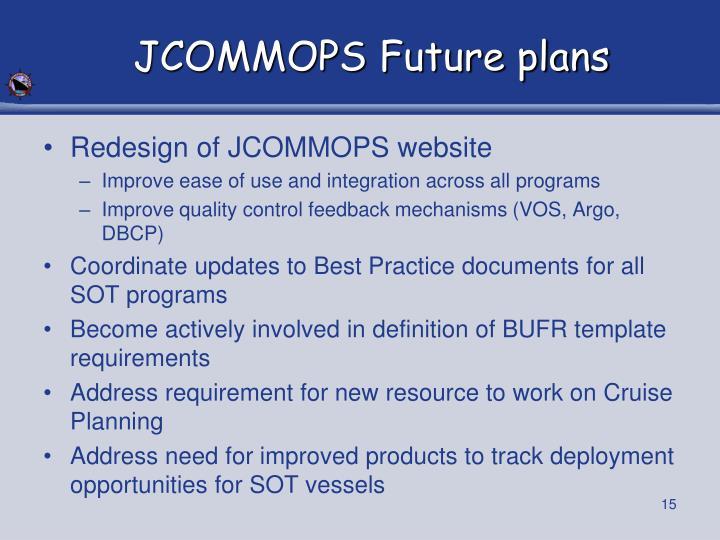 JCOMMOPS Future plans