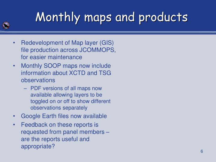 Monthly maps and products