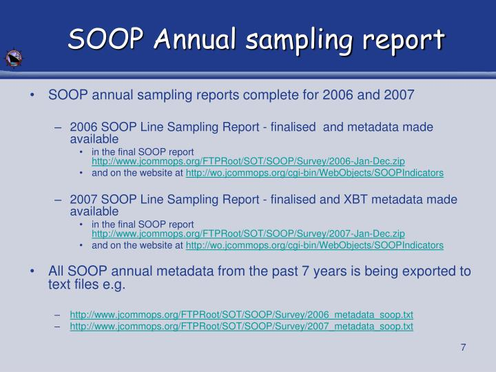 SOOP Annual sampling report