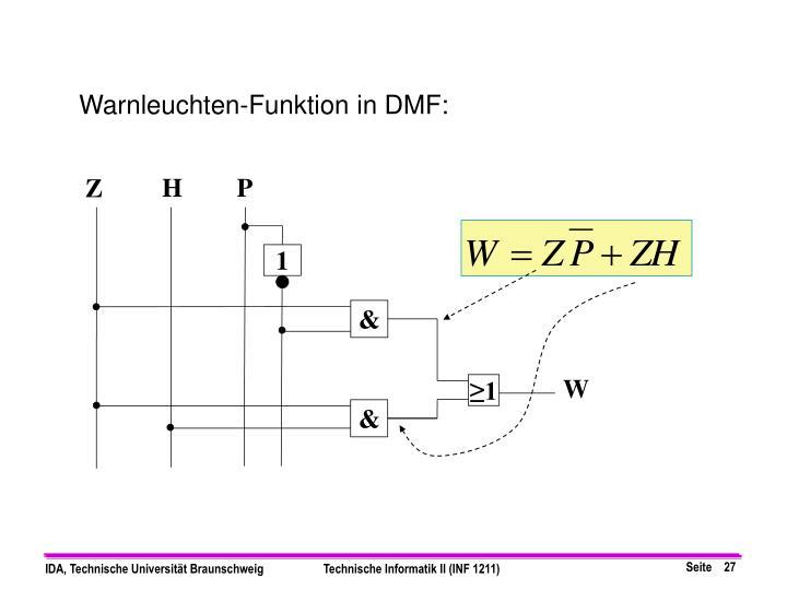 Warnleuchten-Funktion in DMF: