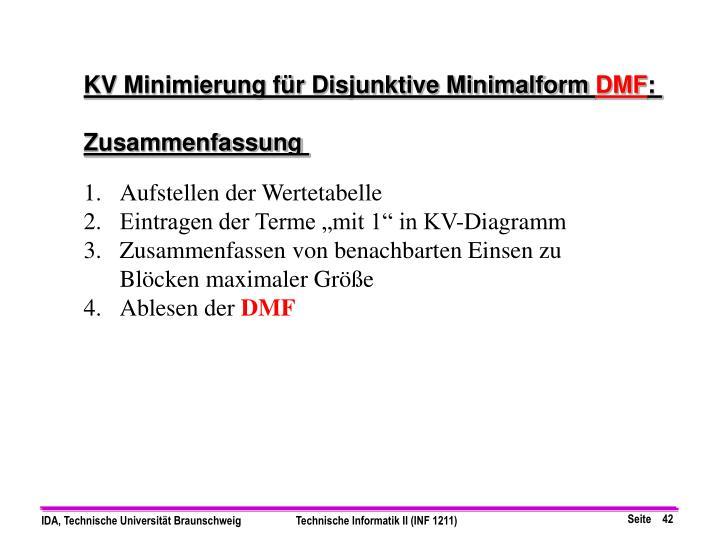 KV Minimierung für Disjunktive Minimalform