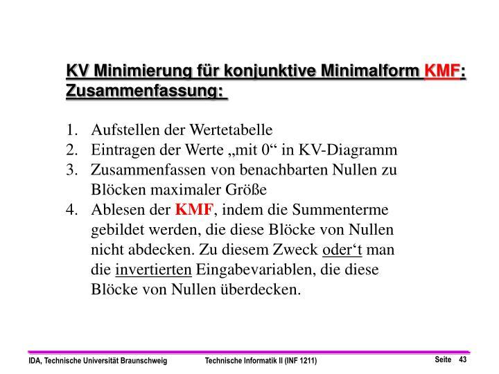 KV Minimierung für konjunktive Minimalform