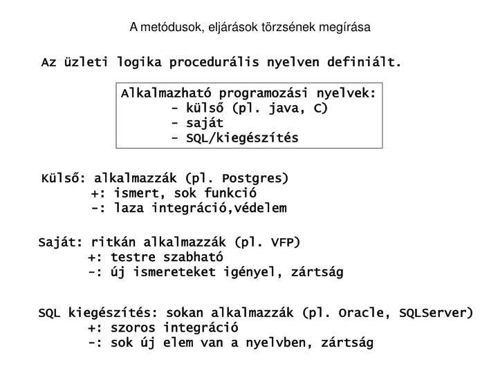 A metódusok, eljárások törzsének megírása