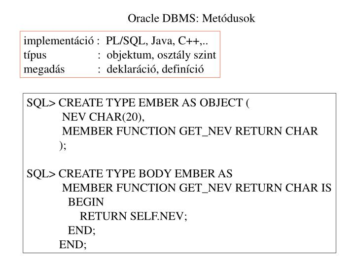 Oracle DBMS: Metódusok