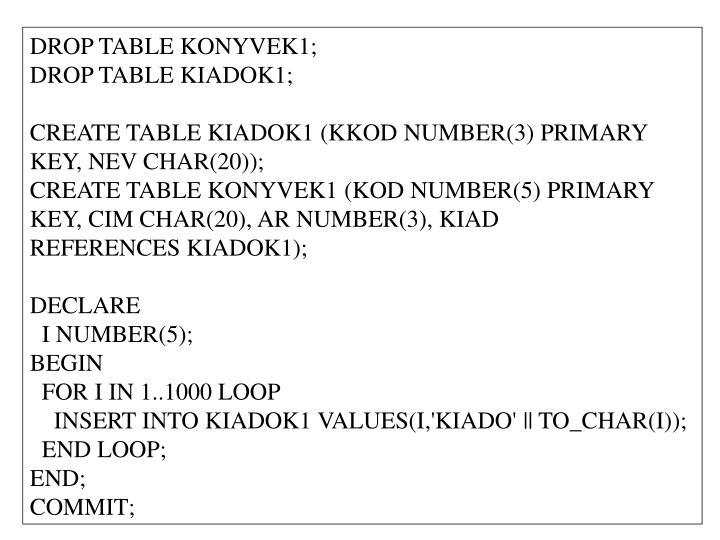 DROP TABLE KONYVEK1;