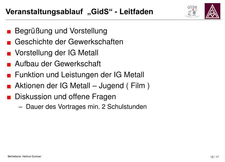 """Veranstaltungsablauf  """"GidS"""" - Leitfaden"""