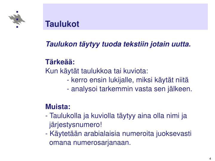 Taulukot