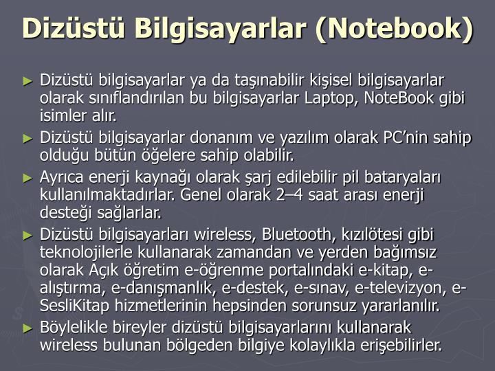 Dizüstü Bilgisayarlar (Notebook)