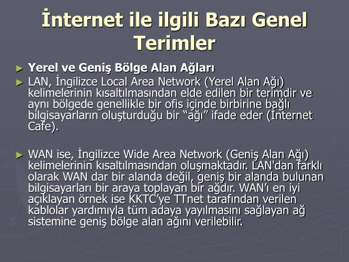 İnternet ile ilgili Bazı Genel Terimler