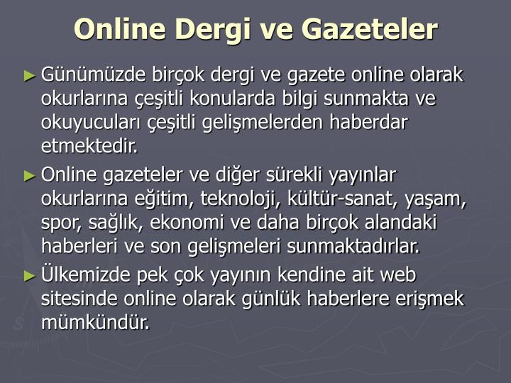 Online Dergi ve Gazeteler