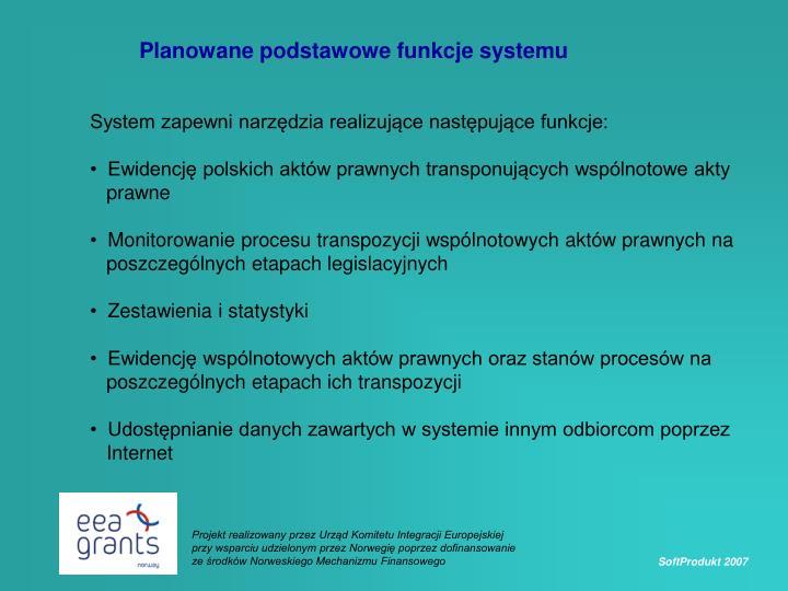 Planowane podstawowe funkcje systemu