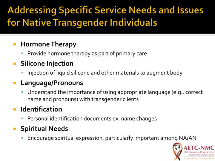Addressing Specific Service Needs and Issues for Native Transgender Individuals