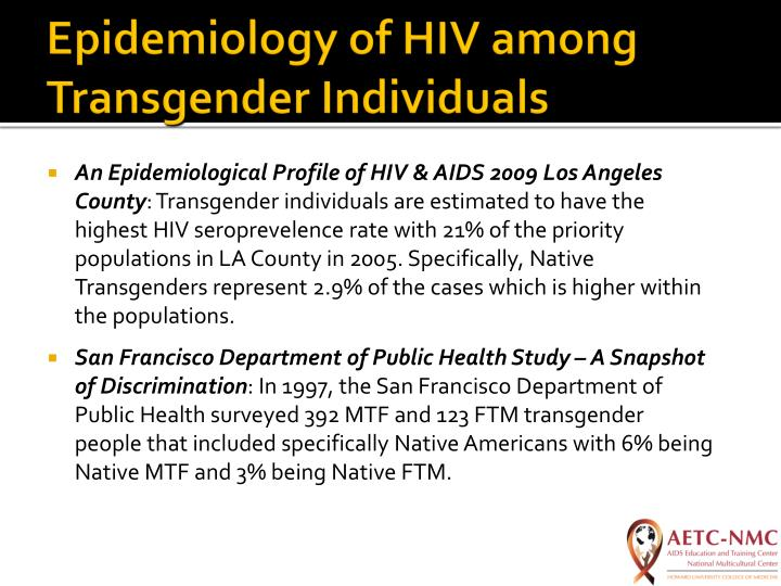 Epidemiology of HIV among Transgender Individuals