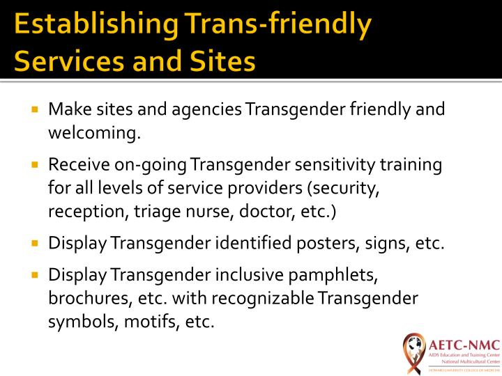Establishing Trans-friendly