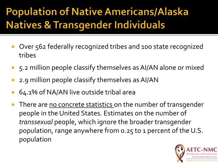Population of Native Americans/Alaska Natives & Transgender Individuals
