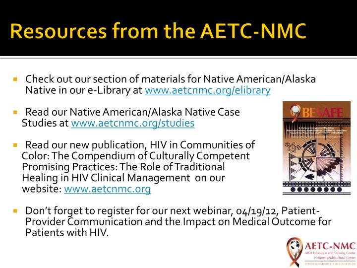 Resources from the AETC-NMC