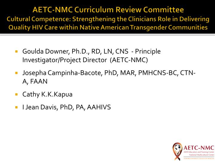 AETC-NMC Curriculum Review Committee