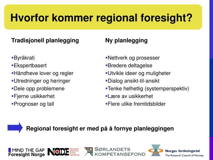 Hvorfor kommer regional foresight?