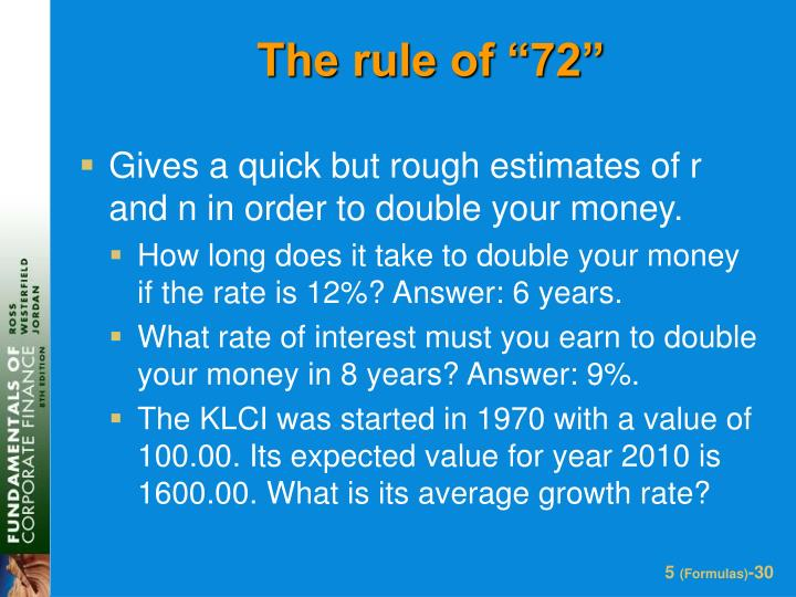 "The rule of ""72"""