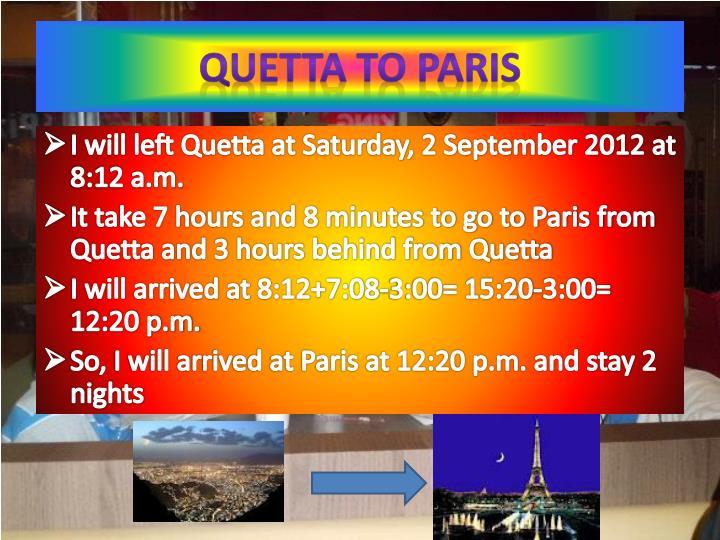 Quetta to Paris
