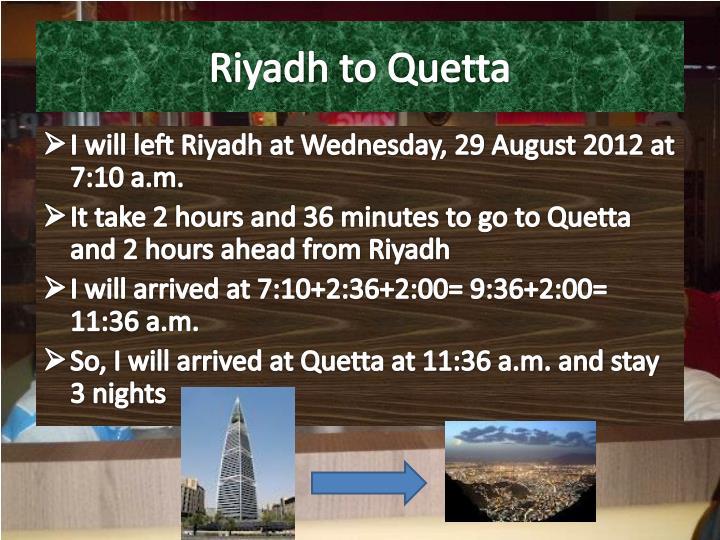 Riyadh to Quetta