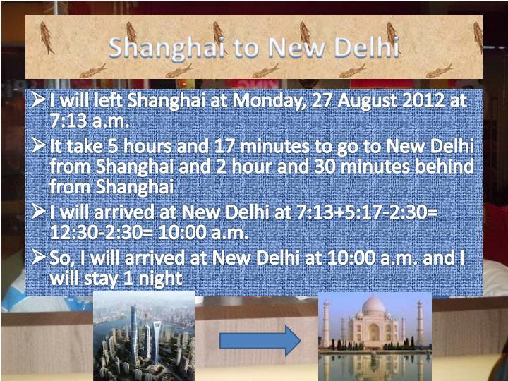 Shanghai to New Delhi