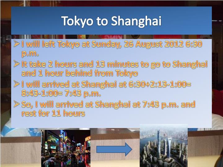 Tokyo to Shanghai