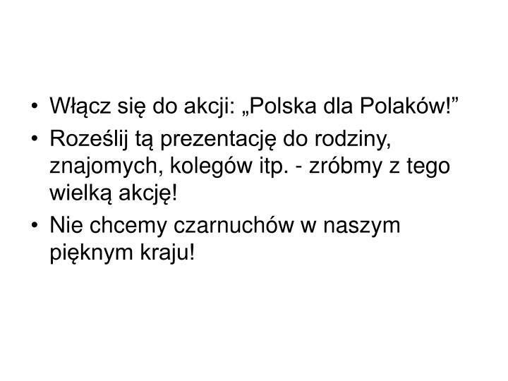 """Włącz się do akcji: """"Polska dla Polaków!"""""""