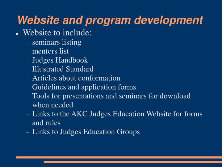 Website and program development