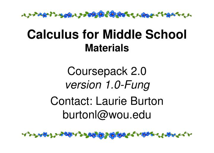 Calculus for Middle School