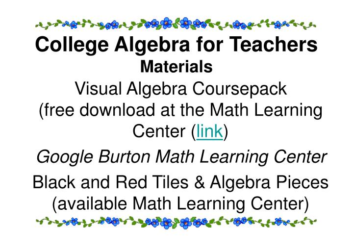College Algebra for Teachers