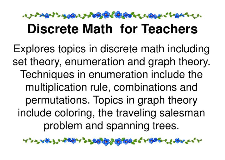 Discrete Math  for Teachers
