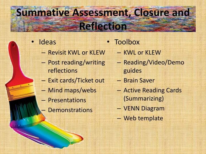 Summative Assessment, Closure and Reflection