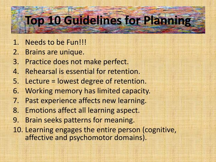 Top 10 Guidelines for Planning