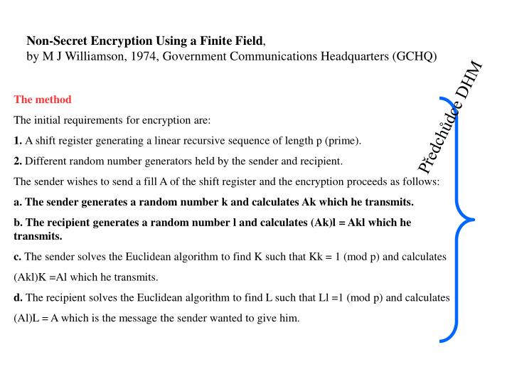 Non-Secret Encryption Using a Finite Field