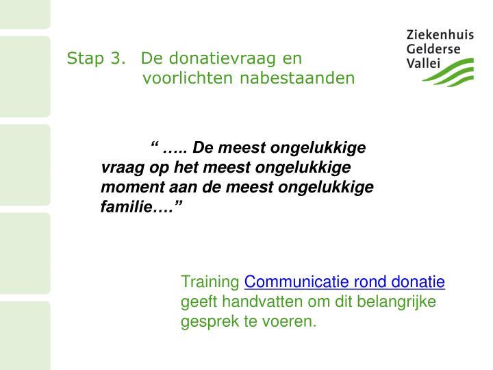 Stap 3.De donatievraag en