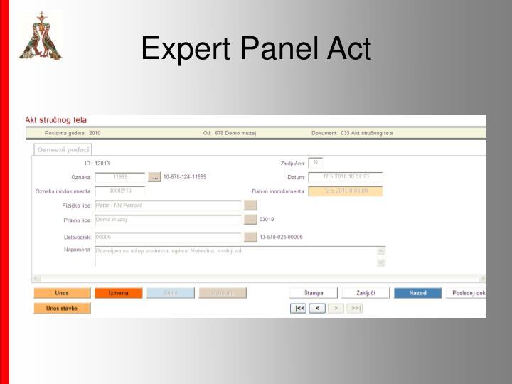 Expert Panel Act