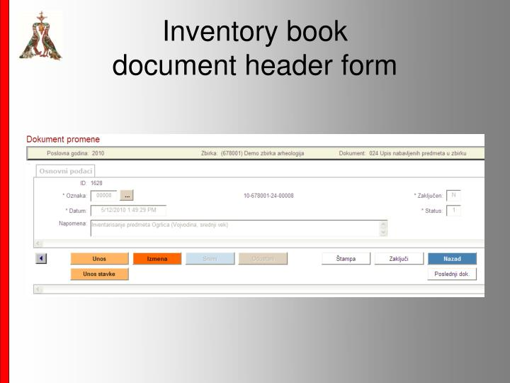 Inventory book