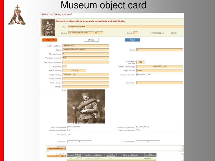 Museum object card