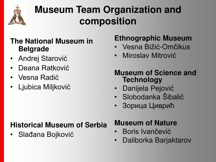 Museum Team Organization and composition