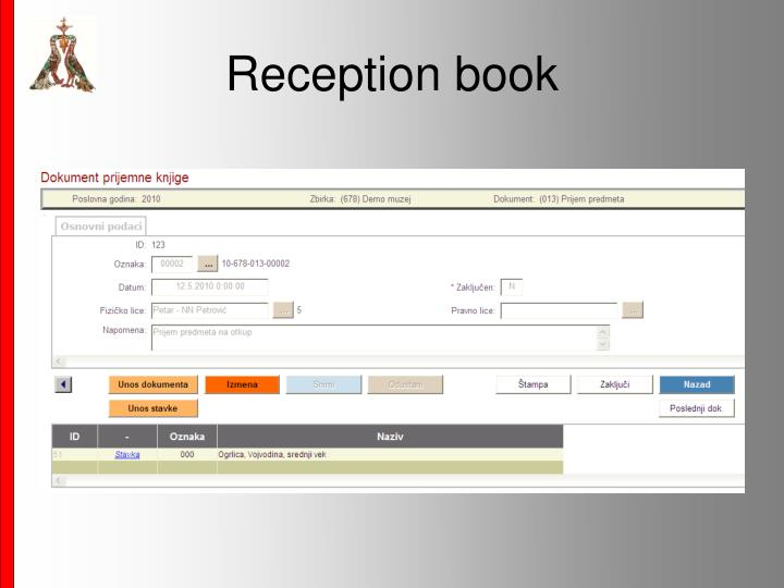 Reception book