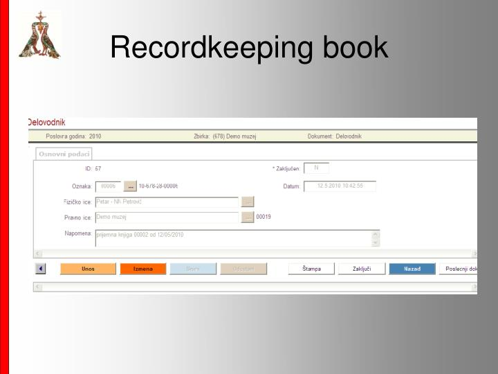 Recordkeeping book