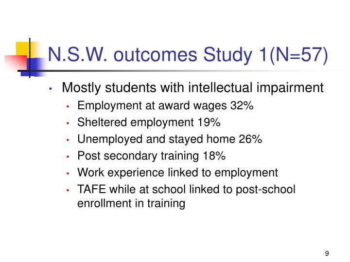N.S.W. outcomes Study 1(N=57)