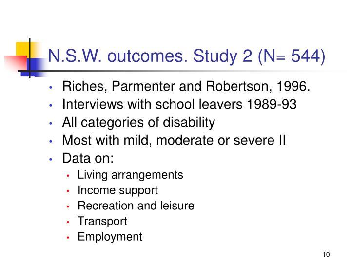 N.S.W. outcomes. Study 2 (N= 544)