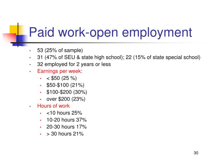 Paid work-open employment