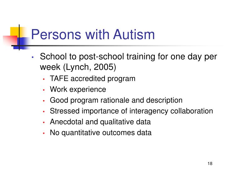 Persons with Autism