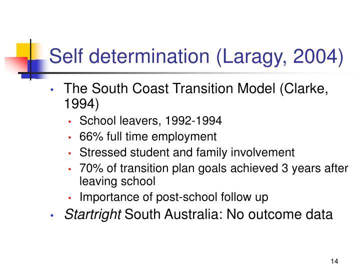 Self determination (Laragy, 2004)