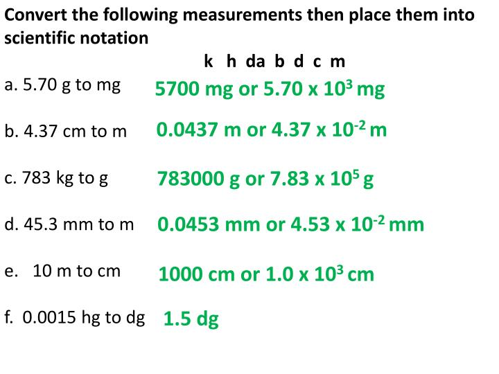 Convert the following measurements then place them into scientific notation